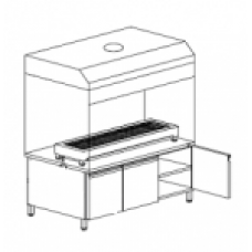 BBQ Manual 150 on Cabinet & Hood 150X70X230