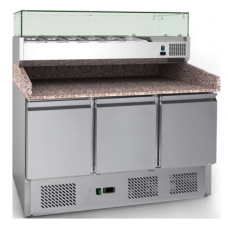 Counter Pizza & Preparation Chiller 3 door with Salad Bar