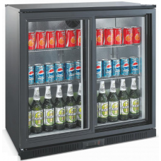 Bar Cooler Chiller Black 2 Hinge Doors
