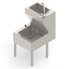 Mop sink unit with hand wash